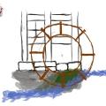 Skizze Wasserrad